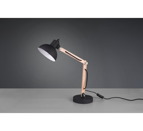 Trio Leuchten Tafellamp Kimi - Zwart/Hout