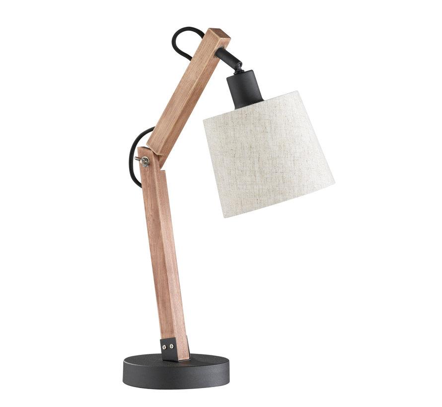 Tafellamp Janko - Zwart/Hout/Grijs