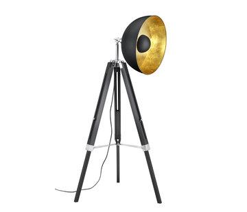 Trio Leuchten Vloerlamp Liege - Zwart/Goud