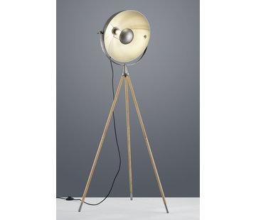Trio Leuchten Vloerlamp Delhi Tripod - Hout/Zilver
