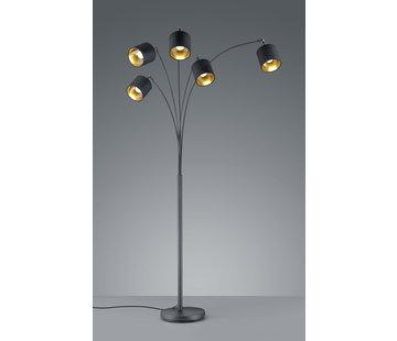 Trio Leuchten Vloerlamp Tommy 5L - Zwart/Goud