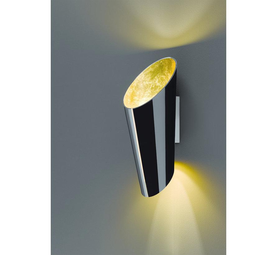 Wandlamp Madeira - Zwart/Goud
