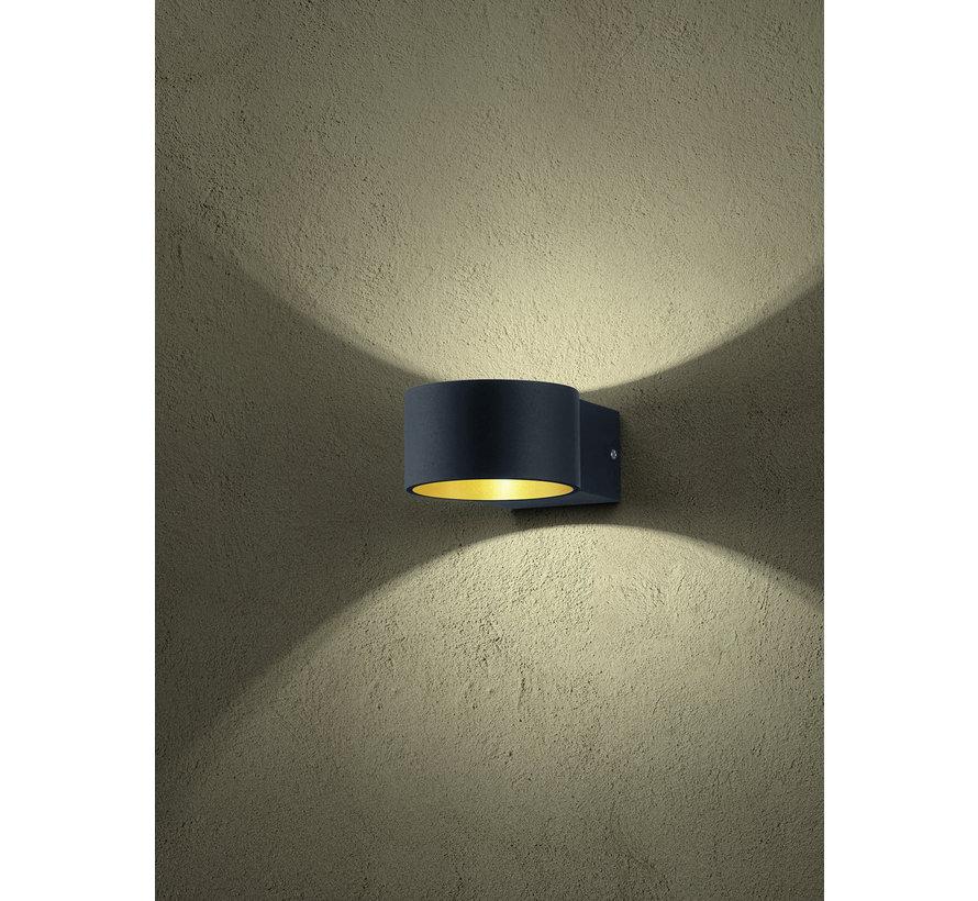 Wandlamp Lacapo - Zwart/Goud