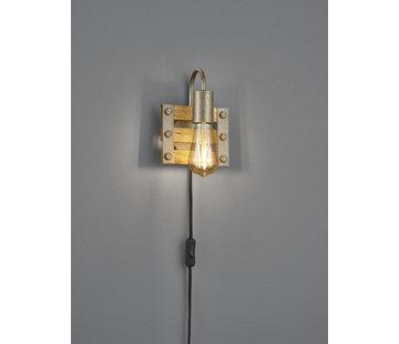 Trio Leuchten Wandlamp Khan 1L - Brons/Hout