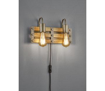 Trio Leuchten Wandlamp Khan 2L - Brons/Hout