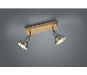 Trio Leuchten Plafondlamp Delhi 2L - Hout/Zilver
