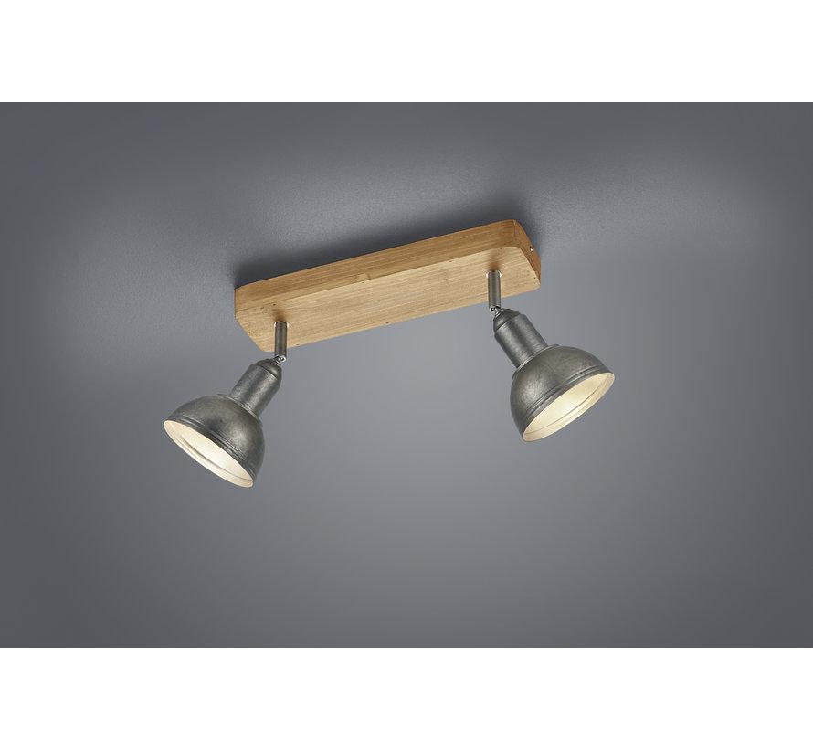 Plafondlamp Delhi 2L - Hout/Zilver