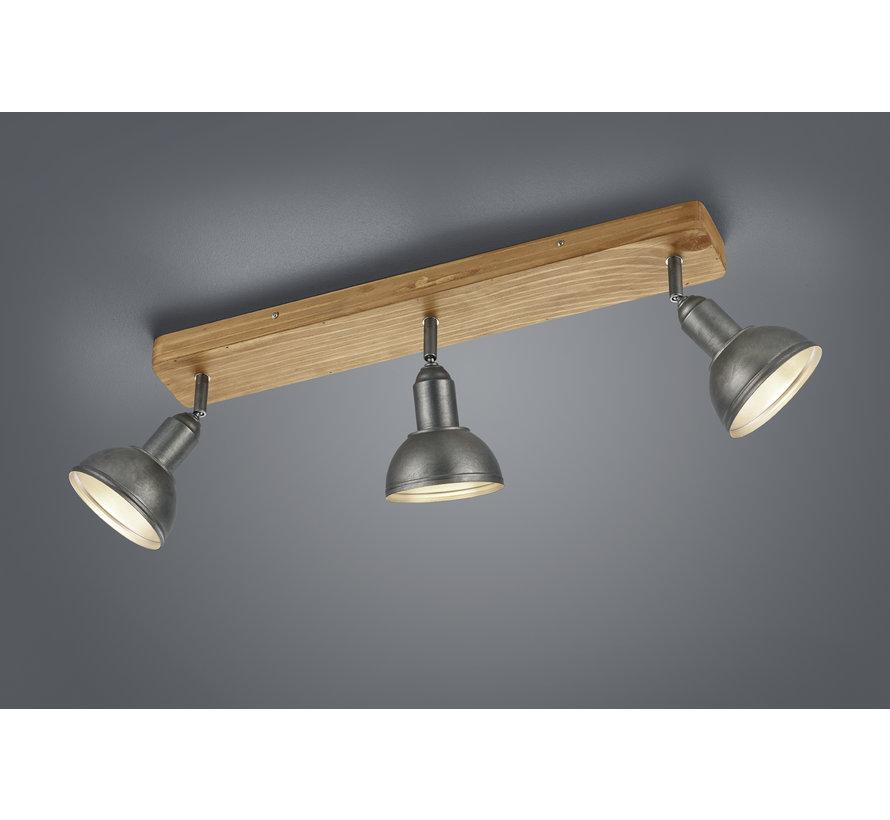 Plafondlamp Delhi 3L - Hout/Zilver