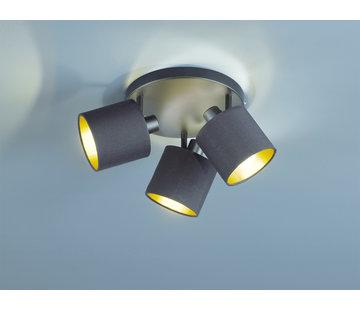 Trio Leuchten Plafondlamp Tommy 3L - Zwart/Goud