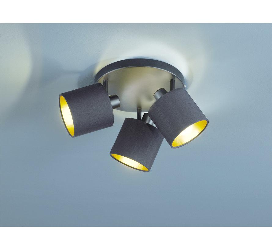 Plafondlamp Tommy 3L - Zwart/Goud