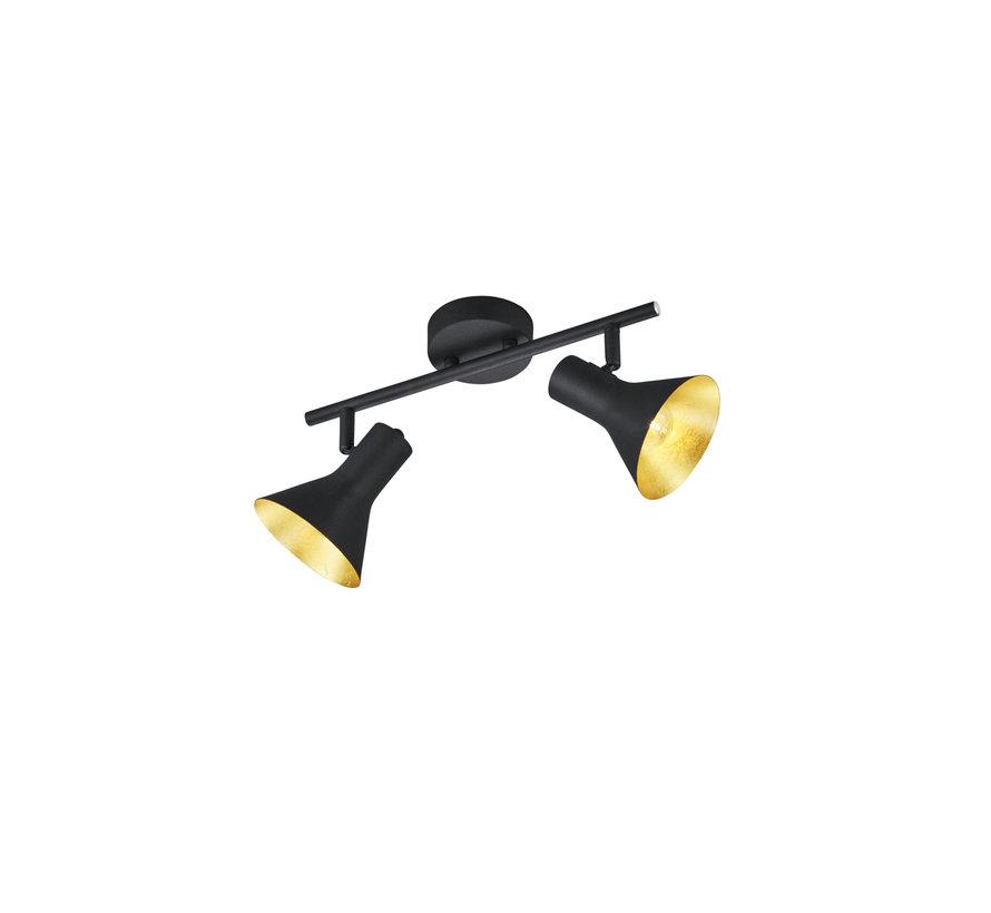 Plafondlamp Nina 2L - Zwart/Goud