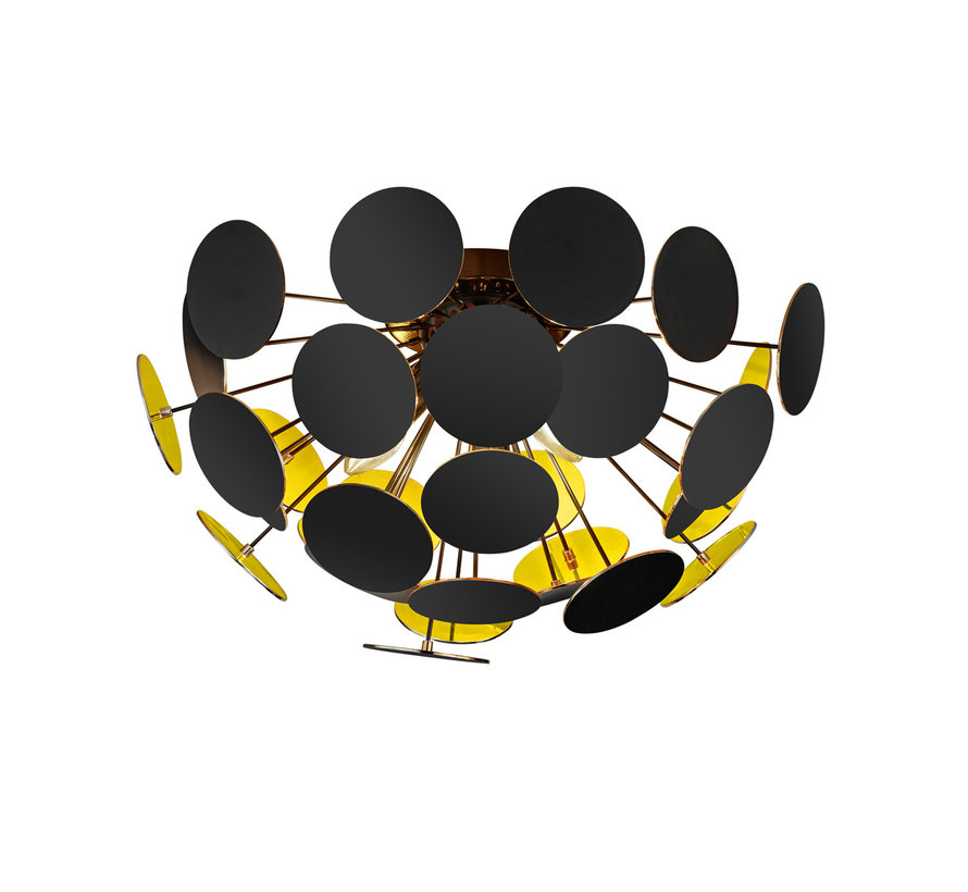 Plafondlamp Discalgo - Zwart/Goud