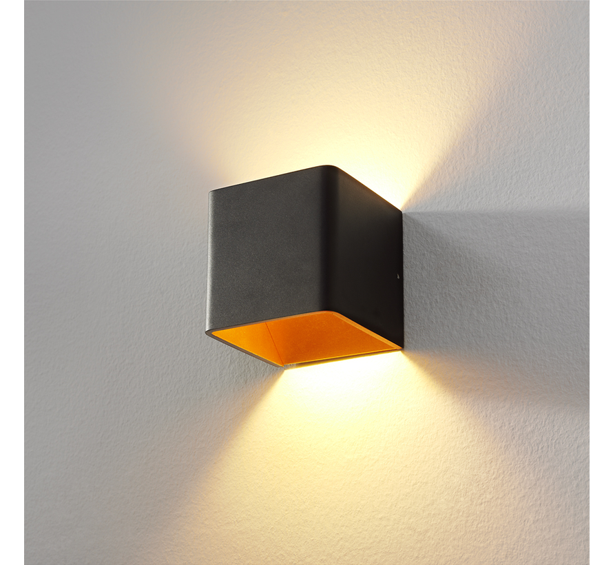 Wandlamp Fulda - Zwart/Goud