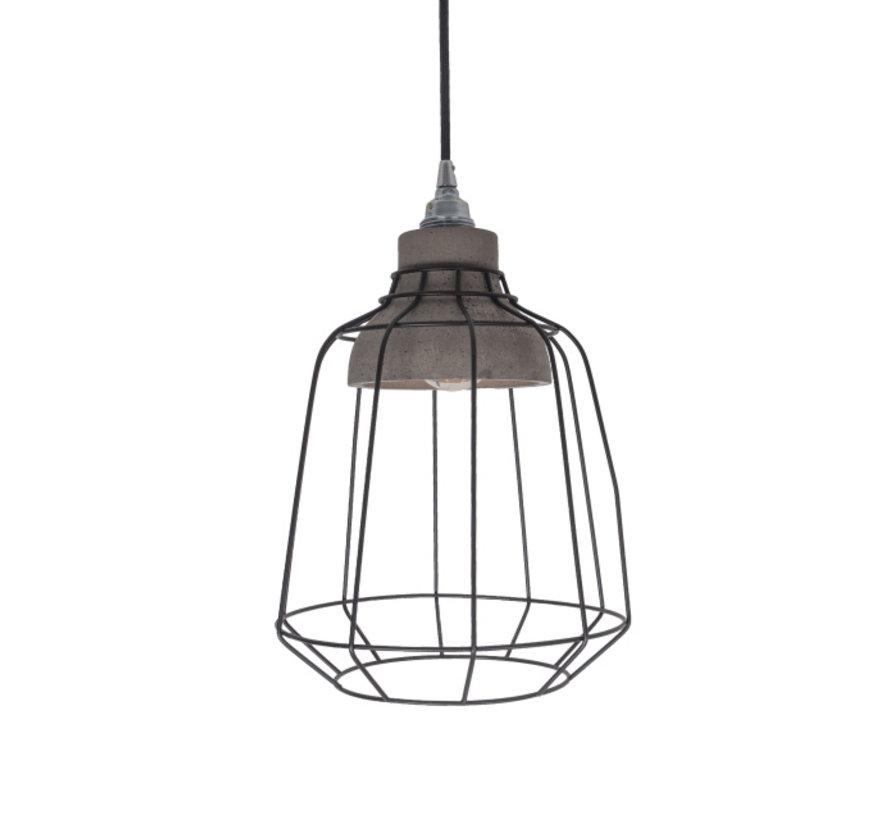 Hanglamp Ake - Metaal/Beton/Zwart
