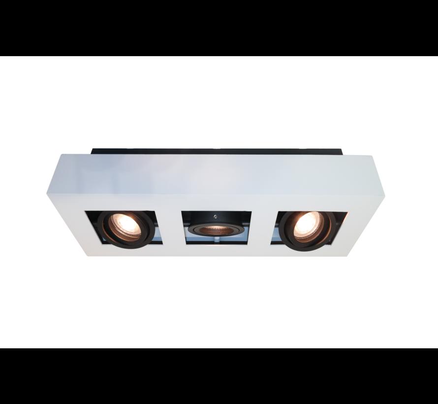 Plafondlamp Bosco 3L - Wit/Zwart