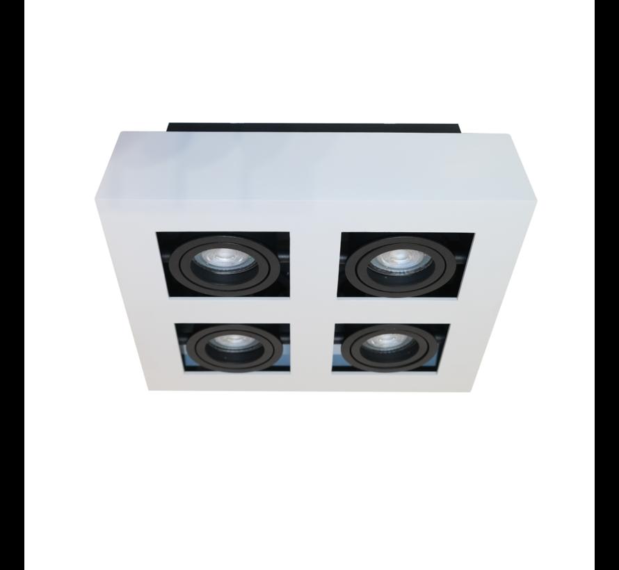 Plafondlamp Bosco 4L - Wit/Zwart