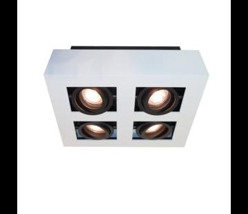Artdelight Plafondlamp Bosco 4L - Wit/Zwart