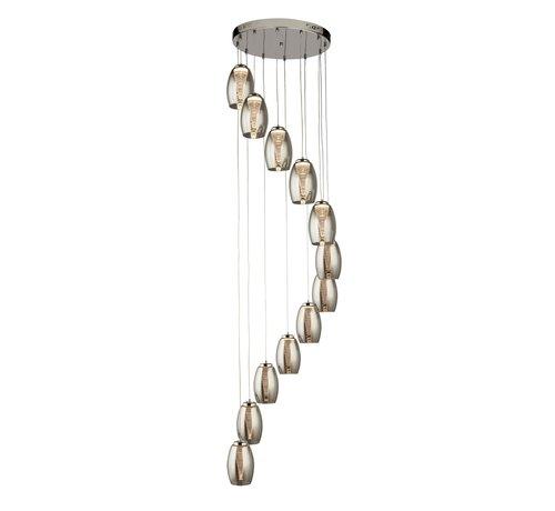 Searchlight Hanglamp Cyclone 12L Vide - Chroom/Smoke