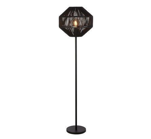 Searchlight Vloerlamp Wicker - Zwart