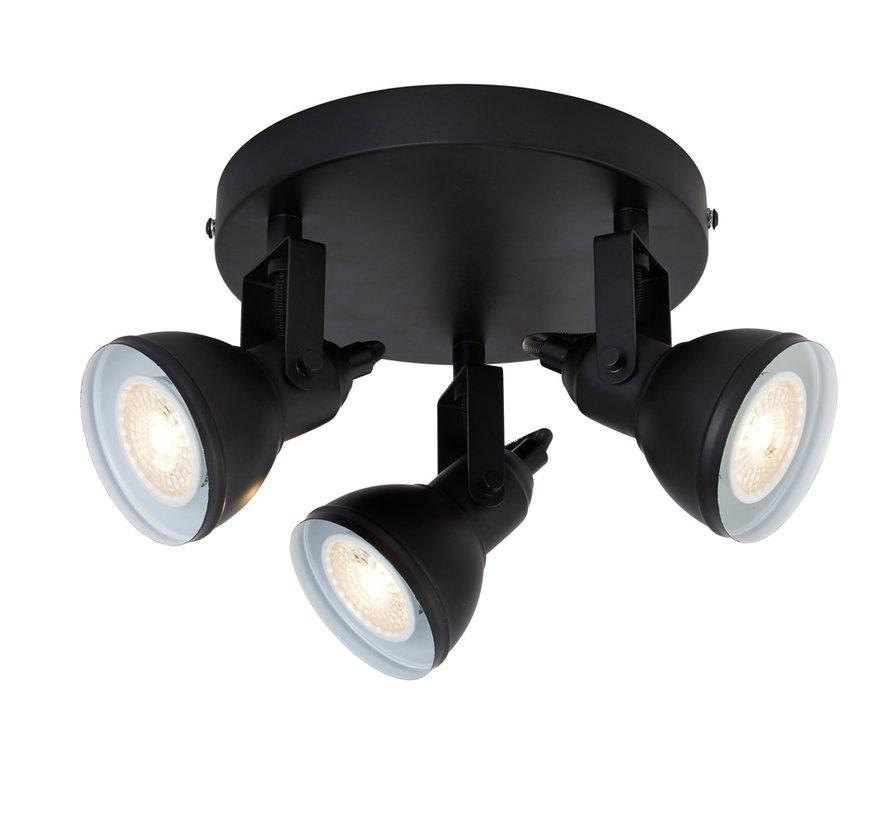 Plafondlamp Focus 3L - Zwart