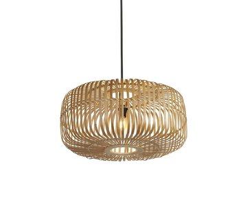 Searchlight Hanglamp Drum Bamboo 52x25cm - Zwart/Rotan
