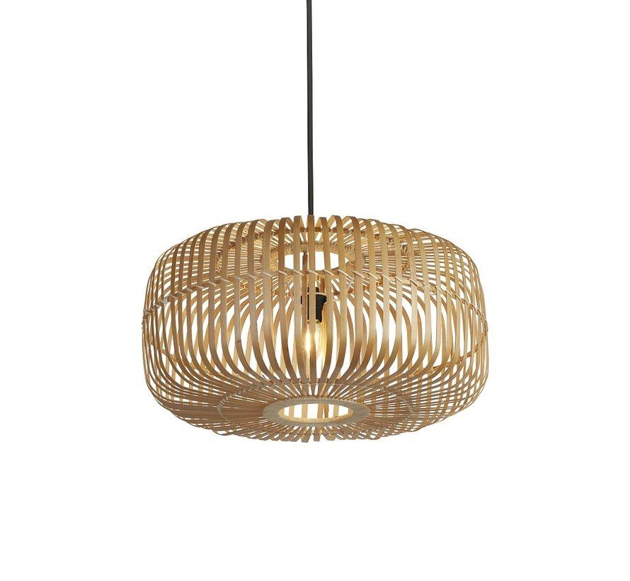 Hanglamp Drum Bamboo 52x25cm - Zwart/Rotan