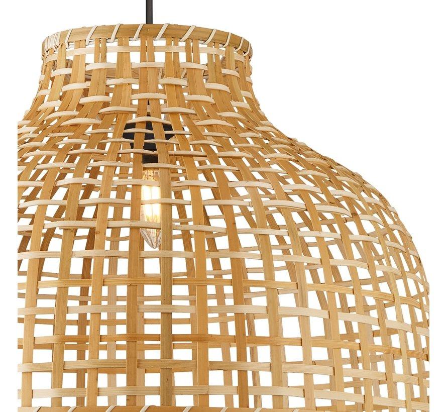 Hanglamp Drum Bamboo 52x35cm - Zwart/Rotan