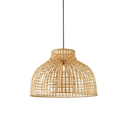 Searchlight Hanglamp Drum Bamboo 52x35cm - Zwart/Rotan