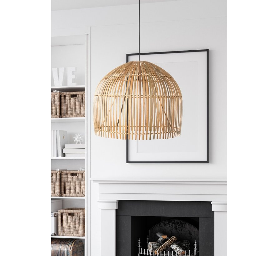 Hanglamp Bamboo 60x50cm - Zwart/Rotan