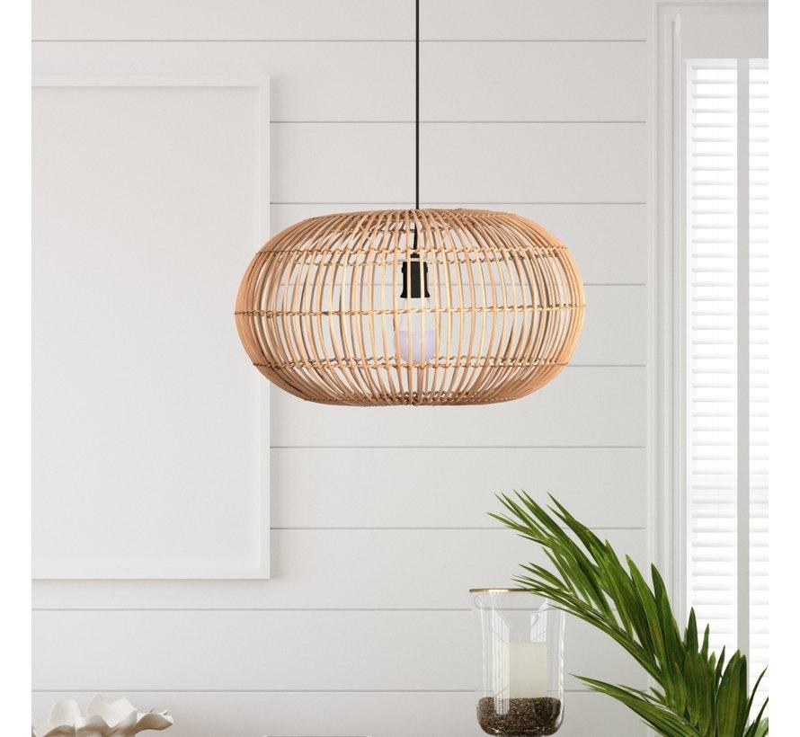 Hanglamp Rattan 48x26cm - Zwart/Rotan