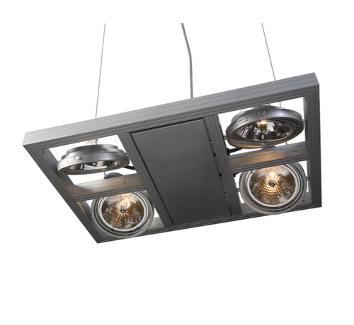 Artdelight Hanglamp Indus 4L Vierkant - Aluminium