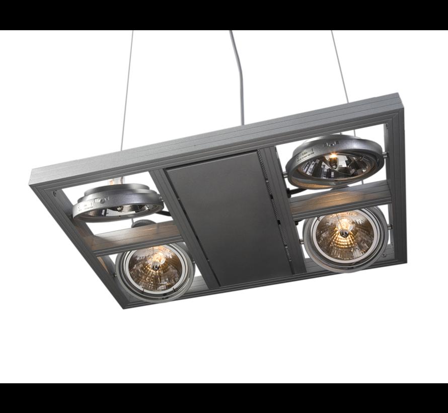 Hanglamp Indus 4L Vierkant - Aluminium