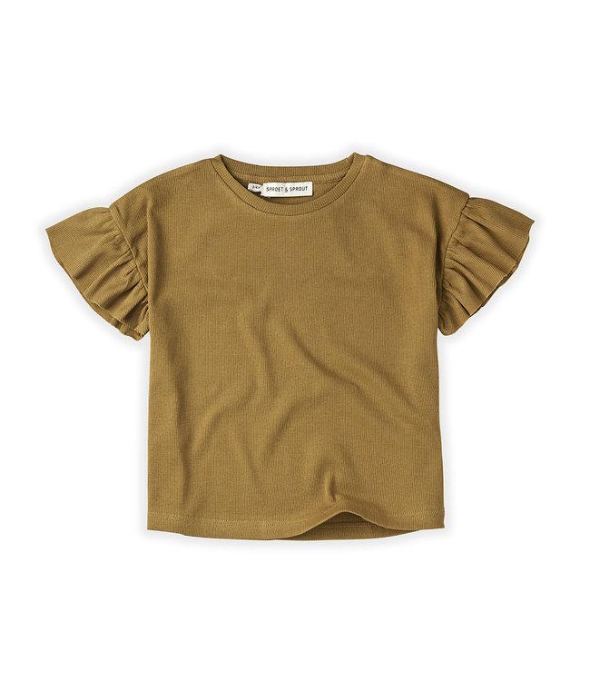 T-shirt Rib Ruffle Camel