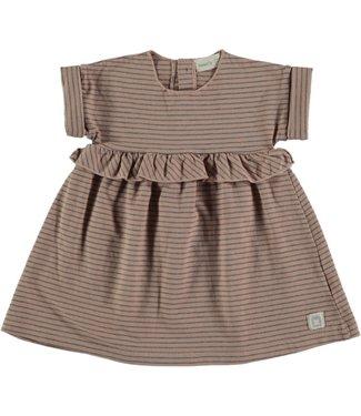 Beans Barcelona Jurk Striped Jersey Dress Rose
