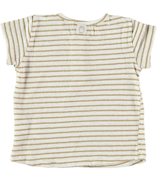 Beans Barcelona Tshirt striped Cotton camel