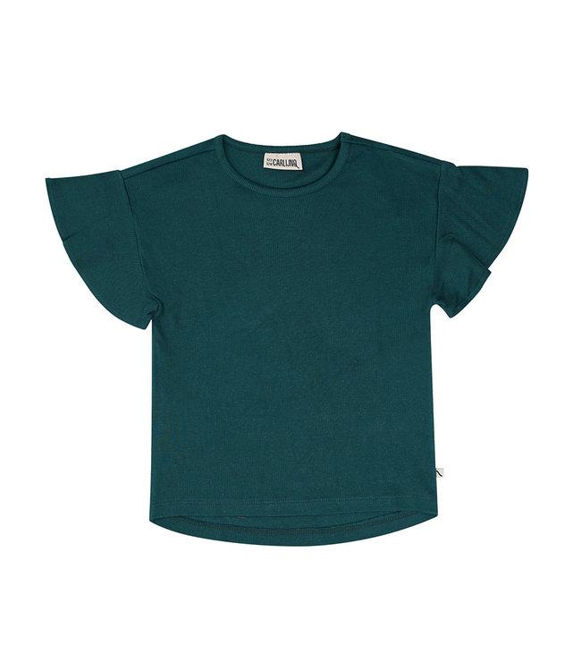 Tshirt short sleeve ruffled Petrol