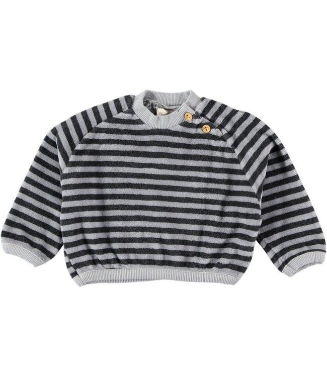 Beans  Barcelona Sweatshirt Striped Cotton Velvet Antraciet LEO