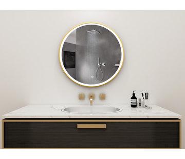 Bella Mirror Spiegel rond 80 cm met gouden frame, led verlichting en anti-condens