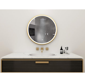 Bella Mirror Spiegel rond 80 cm met gouden frame, led verlichting en anti condens