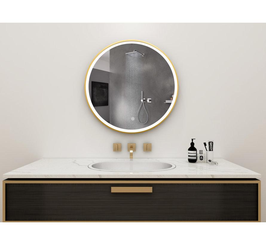 Spiegel rond 80 cm met gouden frame, led verlichting en anti condens