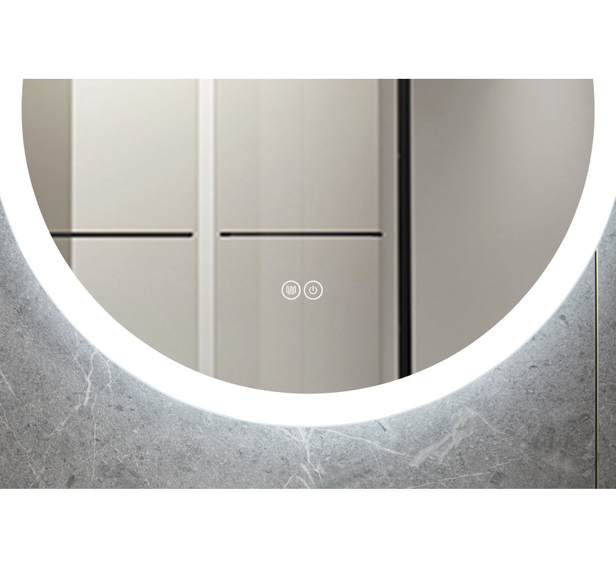 Spiegel rond 60 cm frameloos, inbouw led verlichting en anti-condens