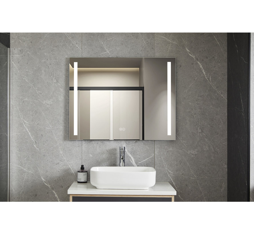 Spiegel 60 x 120 cm frameloos, inbouw led verlichting en anti condens