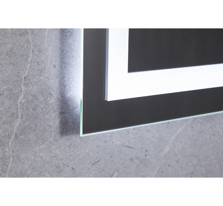 Spiegel 70 x 80 cm frameloos, inbouw led verlichting en anti condens