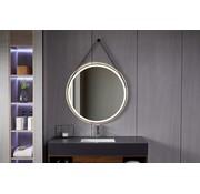 Bella Mirror Spiegel rond 80 cm met trendy riem zwart frame, inbouw led verlichting en anti-condens