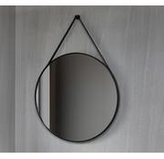Bella Mirror Spiegel rond 80 cm met trendy riem zwart frame