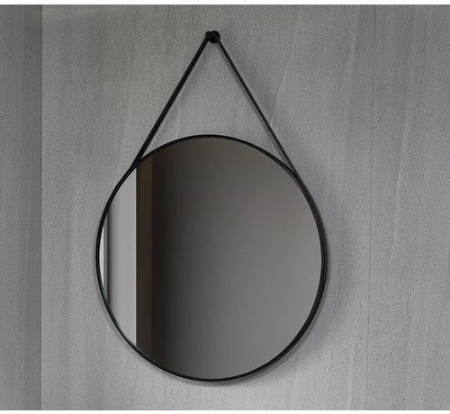 Bella Mirror Spiegel rond 80 cm met trendy riem zwart frame, inbouw led verlichting en anti-condens - Copy