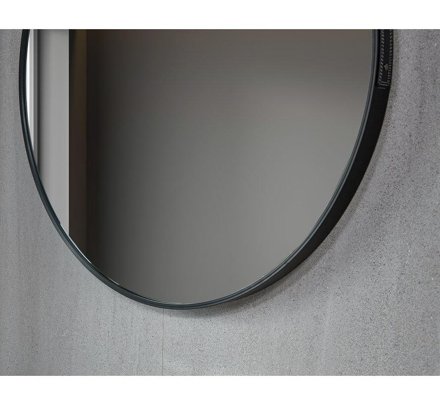 Spiegel rond 80 cm met trendy riem zwart frame, inbouw led verlichting en anti-condens - Copy