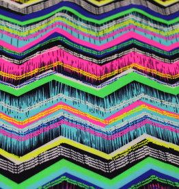 Hemmers COUPON  zigzag neon lycra 140x150cm