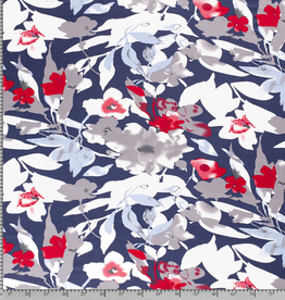Nooteboom navy with red flowers tricot