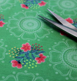 Megan Blue COUPON green retro print pink flowers 30x150cm